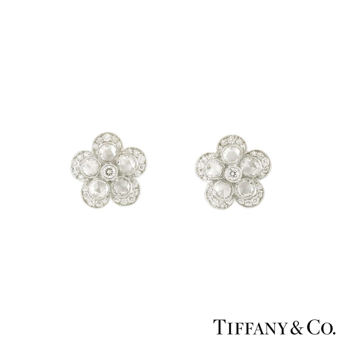 Tiffany & Co. Platinum Diamond Garden Flower Earrings 1.06ct G+/VS+
